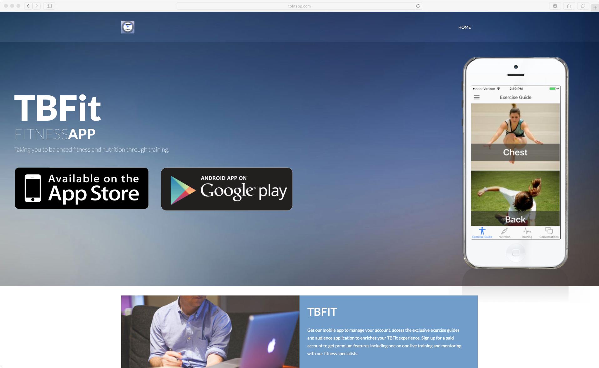 App Landing for TBFit