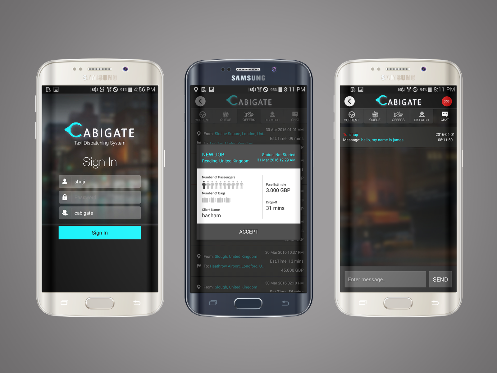 Cabigate (android, web-service)
