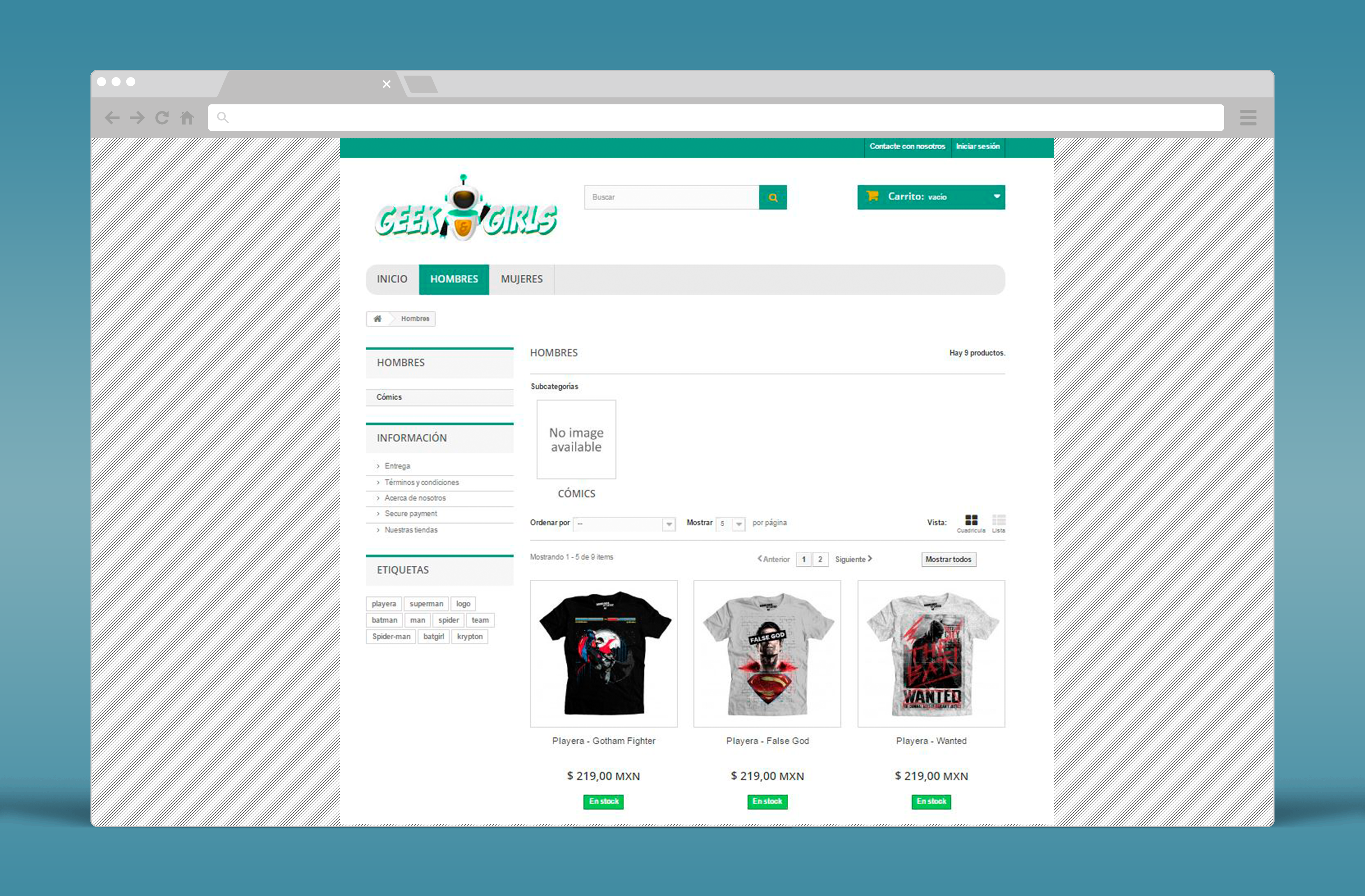 GeekAndGirls.com - Diseño e instalación de tienda en línea