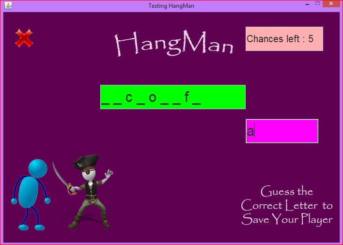 Hangman Game using Java GUI and Photoshop