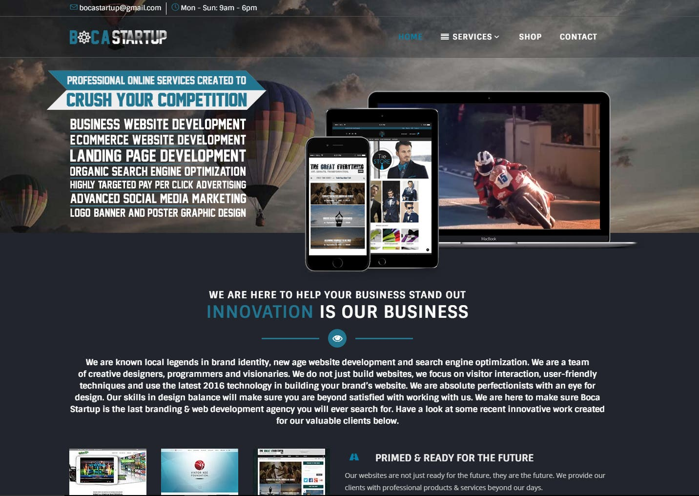Online services company website