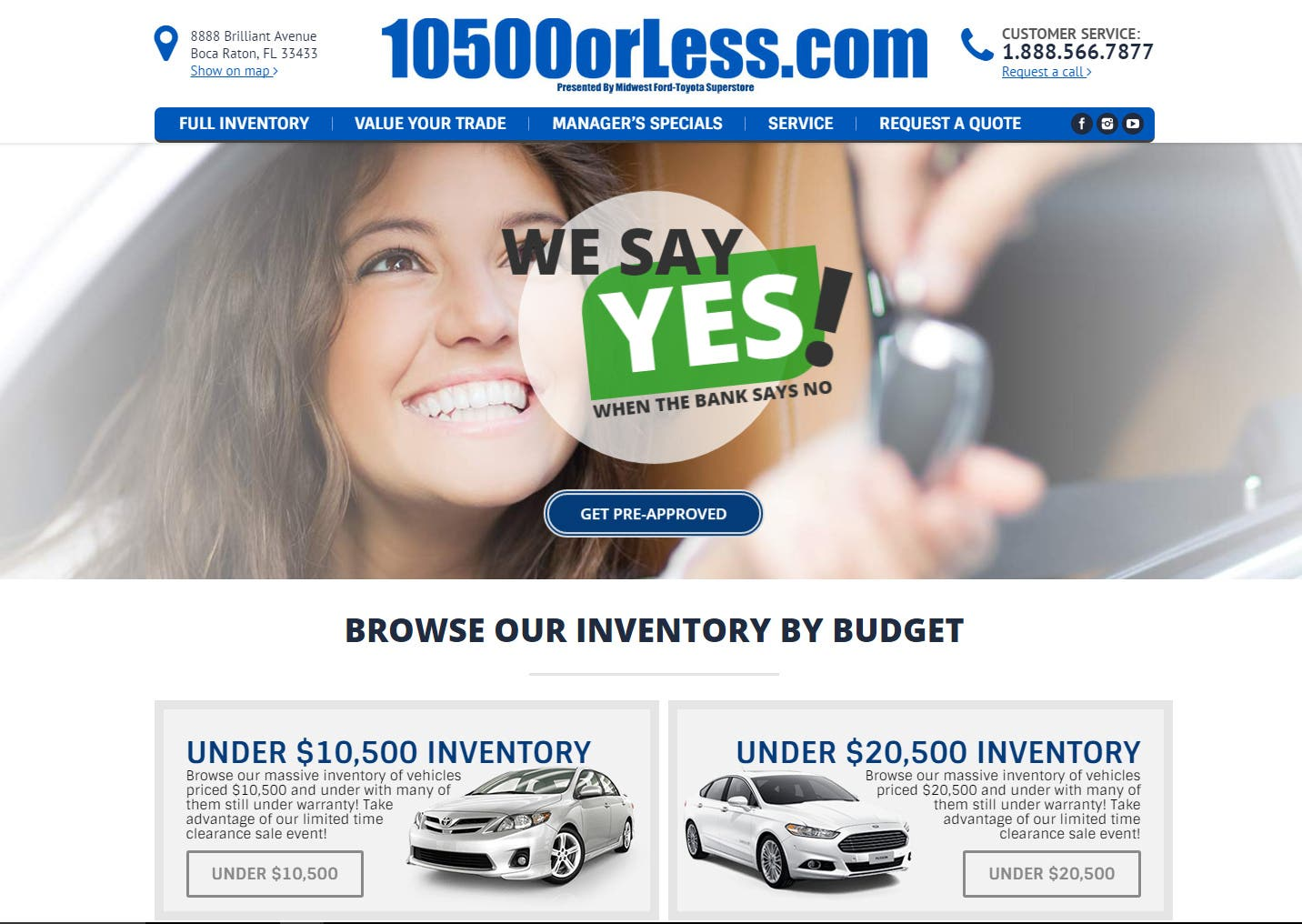 Car dealership landing page