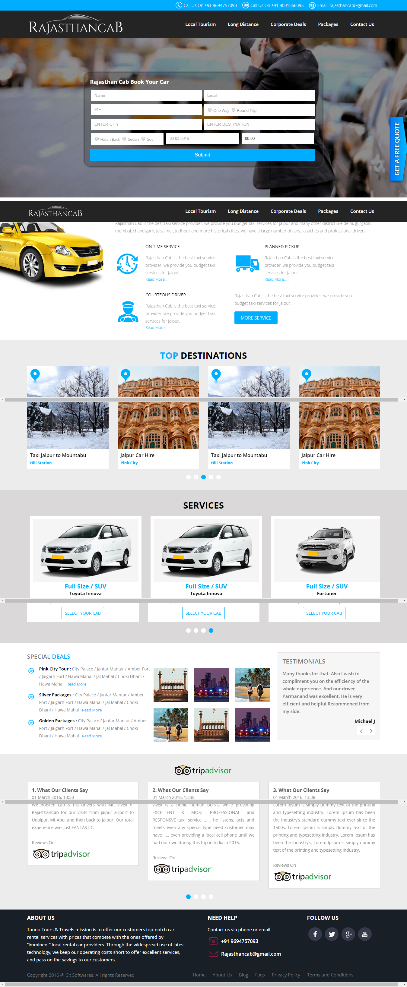 Website design and development for Rajasthancab