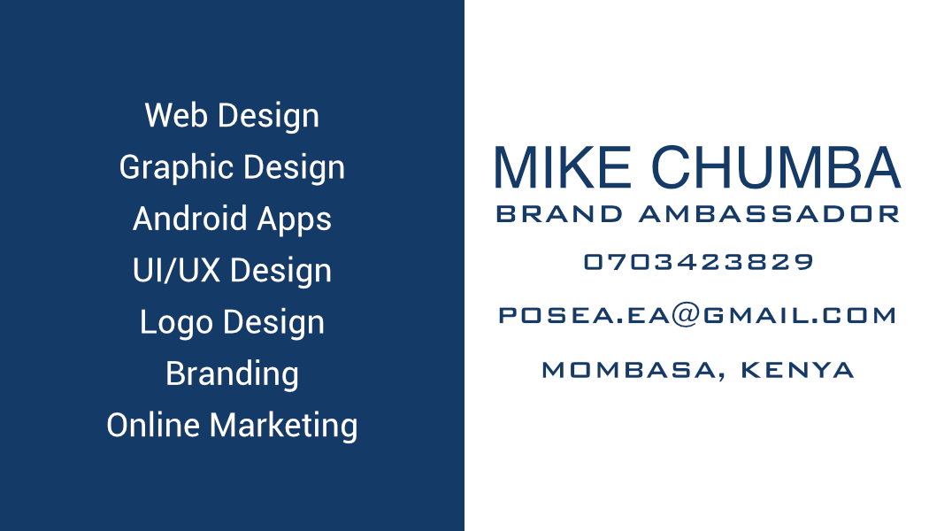 My Personal Business card example (Front and Back)