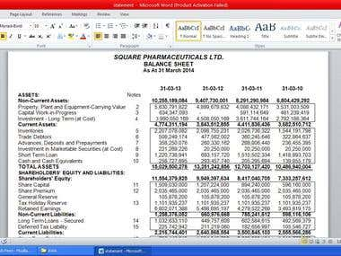 Data Entry(Financial Statement)