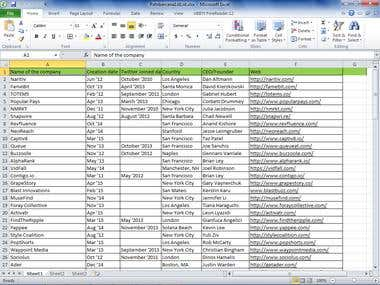 Data Entry - Company list of certain companies