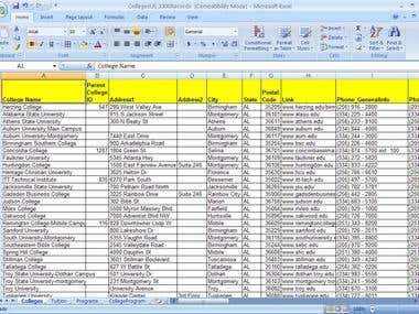 Data Entry - College list and address collection