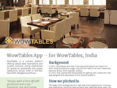 Case Study Design - WowTables