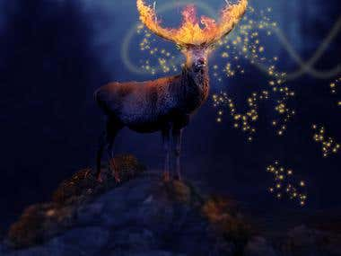 Fantasy Flaming Deer With Adobe Photoshop