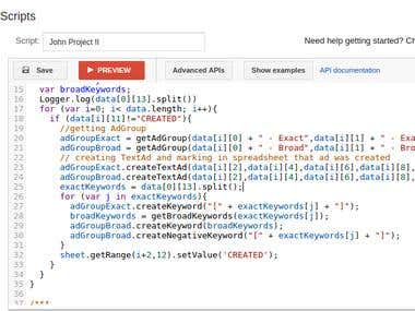 Adwords scripting