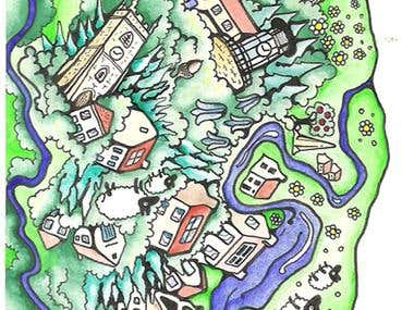 Forest Eco Open Homes Illustration - hand drawn