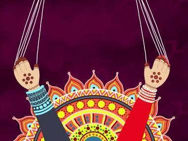 illustration design of ranoli with katputli hands
