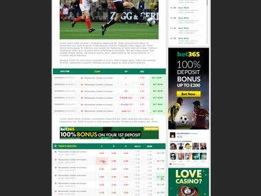 Design for a betting site.