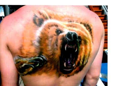 Fake tattoo on back ,,_ Airbrush.