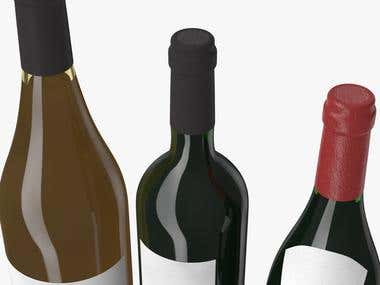 Bottle of Wine, modeling and rendering