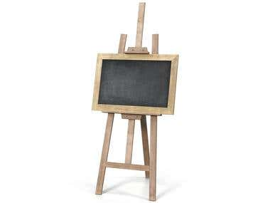 Easel with a Slate, modeling and rendering