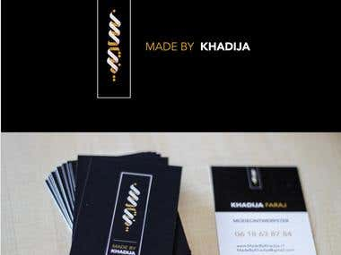 Made By Khadija Logo and business cards