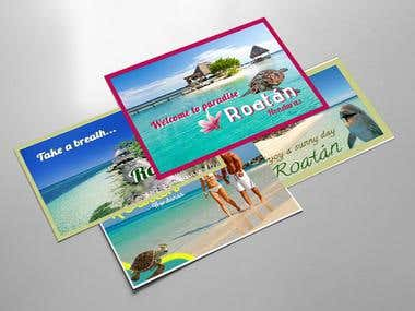 Some graphics designs: business cards, flyers, postcards