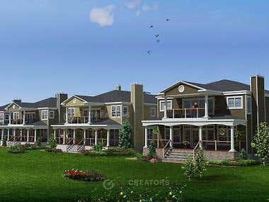 Photorealistic exterior Community renderings.