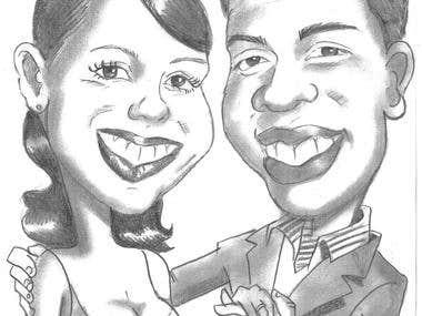 caricaturizando parejas de bodas