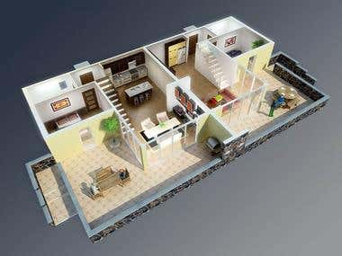 3d Floor plan render