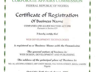 Certificate of Business Incorporation