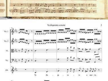 Professional typesetter music notes in the program Finale