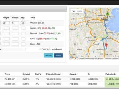 Interface/Software for a freight company