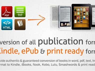 Conversion of Books to Kindle mobi, ePub & Print on demand