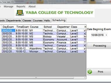 Exams time table
