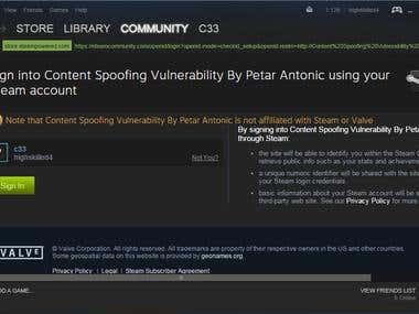 Steam Content Spoofing vulnerability