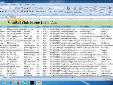 Football Club name list with contact person