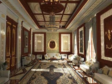 Interior design of a classic style villa