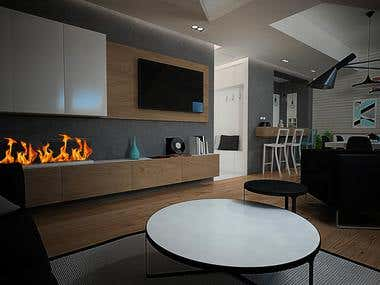 Interior design of a loft apartment