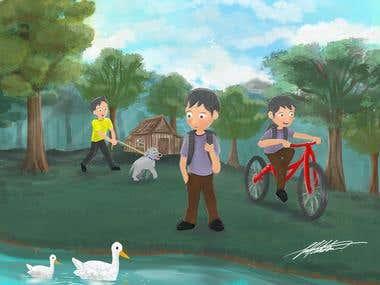 Cartoon painting
