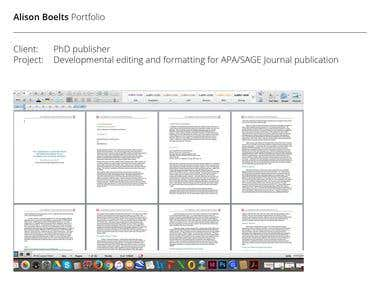 Developmental Editing, formatting, APA/SAGE
