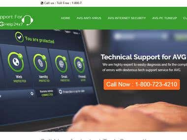 AVG Antivirus Website design in Wordpress