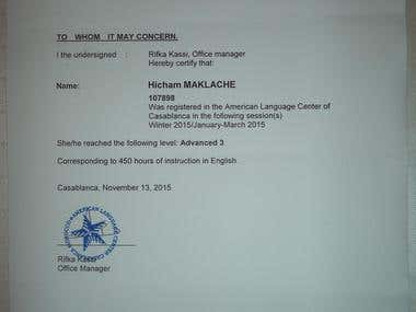 English Certificate