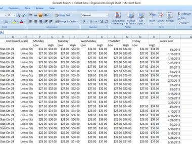 Generate Reports + Collect Data + Organize into Google Sheet