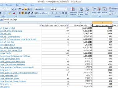 Enter Data from Wikipedia into Attached Excel
