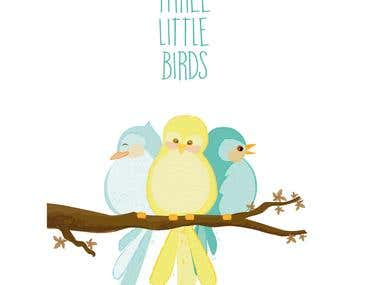 Three little birds illustration