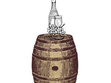 Wine barrel and bottle