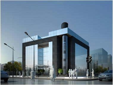 Office Building 3D realistic render