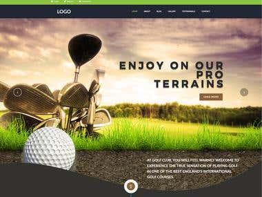 Website mockup for Golf instructor