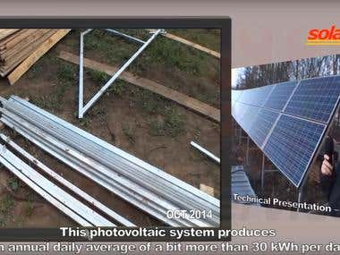 Assembly of solar panels photovoltaic on the farm of animals
