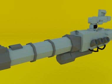 Low Poly : Gun made for 3D printing.