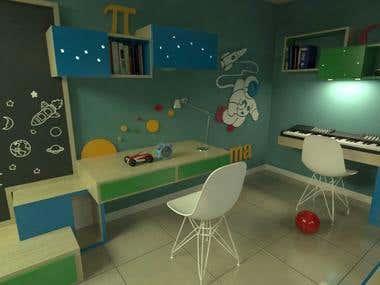Bedroom design, spaceman concept.
