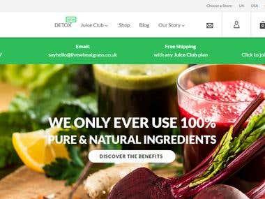 WheatGrassJuice: eCommerce / Blog Webiste