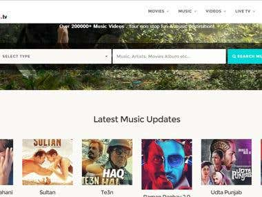 Music and Tv Mobile web Application with live tv
