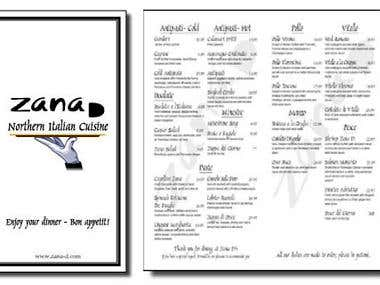 Menu for a Northern Italian Restaurant